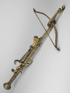 Gold decorated crossbow originating from France, 1720.