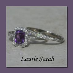 Amethyst and Diamond Pave Engagement Ring by LaurieSarahDesigns, $1996.50