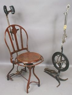 5203: Antique Dental Chair and Foot-operated Drill Stan : Lot 5203