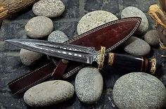 "12.25"" Handmade Damascus Steel Dagger Knife, 1-OF-A-KIND Buffalo Horn, UK-210"