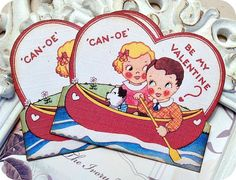 NEW  Vintage Retro Canoe be my Valentine by LittlePaperFarmhouse