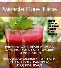 juice with beets is the bomb! [rp] Miracle Cure Juice Ingredients: (always choose organic whenever possible!) 2 large beets 4 long carrots 2 apples (of any kind) 6 stalks celery 2 limes 2 inches ginger Healthy Juices, Healthy Smoothies, Healthy Drinks, Healthy Eating, Healthy Recipes, Diet Recipes, Clean Eating, Green Smoothies, Easy Recipes