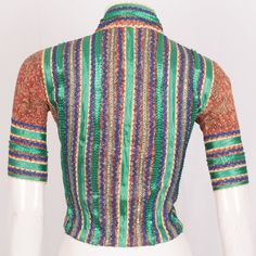 Hand Crafted Kalamkari Cotton Blouse With Embroidered Glitter Work & Collar Neck 10023559 - Size 36 Birthday Greetings For Daughter, Blouse Online, Cotton Blouses, Blouse Designs, Men Sweater, Saree, India, Embroidery, Sweaters