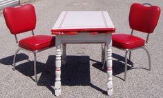 Vintage 1940's Red and White Enamel Top  Distressed by ellam2, $300.00