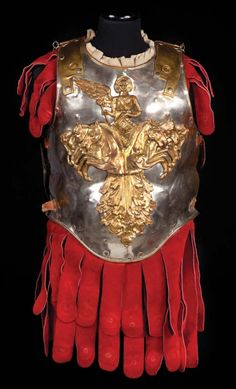 Royal Guard interlocking torso armor of hand-hammered metal and crimson suede from Ben-Hur. (MGM, 1959)