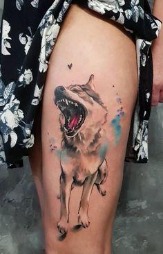 Wolf Dog Tattoo