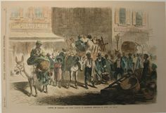"1865 Picture of the arrival of the freedmen and their families at Baltimore, Maryland. Beautifully hand colored wood engraving titled, ""Arrival of the Freedmen and Their Families at Baltimore, Maryland-An Everyday Scene,"" from Frank Leslie's Illustrated Newspaper. Shows scene of the arrival of the freed men and their families at Baltimore, Maryland. 11 x 16in. $80"