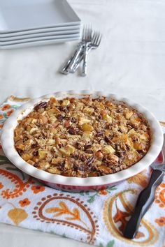 Apple Pie Baked Oatmeal. Thank you to Jamie Peterson for all of her healthy food ideas!