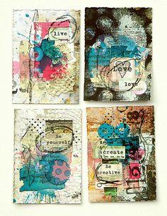 ATC artist trading cards, collage on small cards Inspiration Artistique, Kunstjournal Inspiration, Art Journal Inspiration, Mixed Media Collage, Mixed Media Canvas, Collage Art, Tag Art, Art Altéré, Art Carte