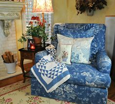 Lovely Blue and White quilt & wonderful chair for my living room please!