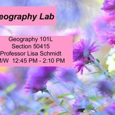 Geography Lab Geography 101L Section 50415 Professor Lisa Schmidt M/W 12:45 PM - 2:10 PM   Important Information • Professor Lisa Schmidt • Section 52186. http://slidehot.com/resources/mw-lab-spring-2015.31764/