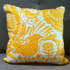 Embroidered Fantasy Pillow in yellow $64.95