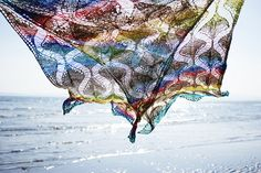 Echo beach  A summery shawl with shifting columns of dropped stitches - there's some suspense involved, as you have to wait until the knitting is almost finished to drop the stitches.