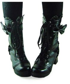 This gorgeous pair of high-top gothic lolita boots are adorable with any cosplay outfit! These shoes are super comfortable to wear. Made of black leather, these round toe boots are high quality and beautifully designed. The trim is finely detailed with a sophisticated lace-like pattern while a cute bow perfectly completes the side of the shoe. $89.99 http://gothiclolitastore.com/product/black-heel-high-top-gothic-lolita-boots/ #goth #gothic #lolita #shoes #boots #black #elegant #cute #sexy