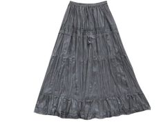 Amazon.com: Bohemian Skirts Dark Grey Four Tiered Lace and Ribbon Cotton Maxi Skirt: Clothing