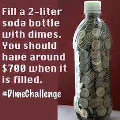 Fill Bottles with Dimes – Finance tips, saving money, budgeting planner Savings Challenge, Money Saving Challenge, Savings Plan, Vacation Savings, Ways To Save Money, Money Tips, Money Saving Tips, Money Budget, Groceries Budget