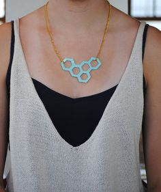Light blue patent leather honeycomb necklace, made by me! only 22.00