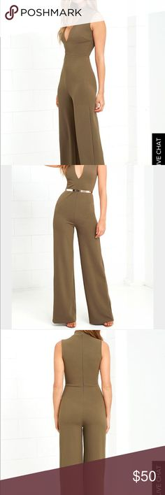 Lulus olive green jumpsuit A mock neck and sexy cutout make the Sweetest Slice Olive Green Jumpsuit the outfit of our dreams! Darting accents the sleeveless, knit bodice of this jumpsuit, with a fitted waist, and wide-leg pants. Hidden back zipper. Belt not included. Front of bodice is lined. 94% Polyester, 6% Spandex. Hand Wash Cold. Tags have been cut out from the inside of the garment Lulu's Other