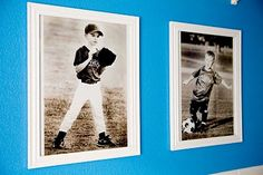 black and white photos of the boys playing sports to put in their rooms.