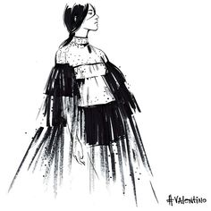 #Valentino is always so unique and feminine. @maisonvalentino More illustrations on PFW at http://www.vogue.ru/fashion/favourites-of-vogue/Uvidet_Parizh/