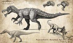 :Neurotenic spinosaurus: by Tapwing on DeviantArt Jurassic World Dinosaurs, Jurassic Park World, Dinosaur Drawing, Dinosaur Art, Creature Concept Art, Creature Design, Fantasy Creatures, Mythical Creatures, Cat Character