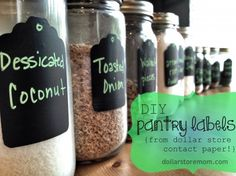 diy pantry labels using dollar store contact paper