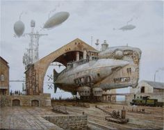 Horse Carriages and Dirigibles – Steampunk Paintings by Vadim Voitekhovitch - Pondly Diesel Punk, Steampunk Kunst, Steampunk Airship, Steampunk Motorcycle, Steampunk Drawing, Steampunk House, Steampunk Lamp, Gothic Steampunk, Steampunk Outfits