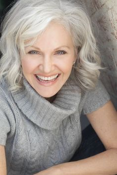 A lovely layered bob style for grey hair with wave or curls. #hair #beauty #GreyandFabulous
