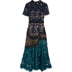 Self-PortraitPrairie Guipure Lace Midi Dress (1,875 AED) ❤ liked on Polyvore featuring dresses and midnight blue