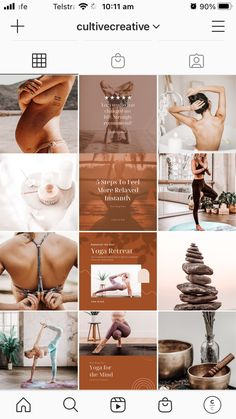 The Yoga Instagram Collage is a divine template inclusive of 18 seamless Instagram posts. Give your social feeds a calming, earthy aesthetic and uniform look. WHAT'S INCLUDED: * Instagram Collage Canva Template * Free stock images included edited with Cultive Presets * Step by step instructions * Customer support from our team #instagramthemes #instagramideas #lightroompresets #instagrampresets Instagram Feed Theme Layout, Instagram Feed Ideas Posts, Instagram Collage, Feeds Instagram, Instagram Bio, Instagram Design, Collage Template, Social Media Design, Brand Collection