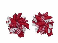 "2"" Red & White Stripes-n-dots Mini Korker Girls Hair Bow Clips, Pair by Beanies2Bows. $3.49. Attached partially lined alligator clips (no teeth). Ends are heat-sealed to prevent fraying. Bows are sewn together-not glued. Price is for the pair. 2"" Grosgrain Ribbon Korker Bows. Made from quality grosgrain ribbon.  These bows are adorable worn alone, clipped to a crochet headband, or on a beanie hat.  They are really cute as accents on flip-flops too."