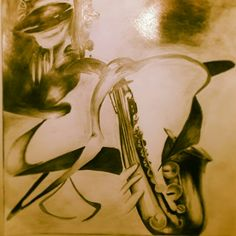 African Jazz Saxophone Pencil Drawing.  There's something about afrojazz and tribalism that's just other worldy