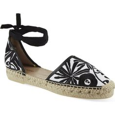 MAJE Frozen embroidered espadrilles ($115) ❤ liked on Polyvore featuring shoes, sandals, blanc, tie shoes, maje, espadrille sandals, embroidered shoes and maje shoes