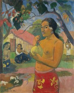 Eu Haere Ia Oe (Woman Holding a Fruit - Where Are You Going), 1893 (small version)  Paul Gauguin
