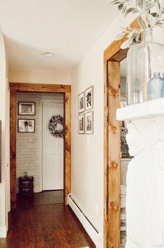 Doorway casing with With Wood Beam Look — Jessica Diana Schlichtman – Home Renovation Home Renovation, Home Remodeling, Kitchen Remodeling, Wood Door Frame, Door Frames, Wood Doors, Interior Minimalista, Decoration Inspiration, Decor Ideas