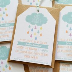 Tag style baby shower invitation set by LittleIndieStudio on Etsy