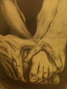 Beautiful pencil drawing of hands and feet