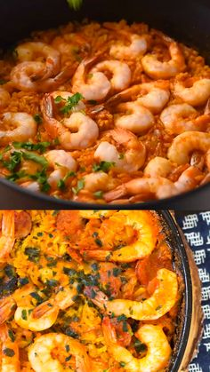 This simple Shrimp and Chorizo Paella is easy to make, has classic Spanish flavors and is an impressive crowd pleaser. Fish Recipes, Seafood Recipes, Mexican Food Recipes, Chicken Recipes, Dinner Recipes, Cooking Recipes, Healthy Recipes, Spanish Food Recipes, Spicy Shrimp Recipes
