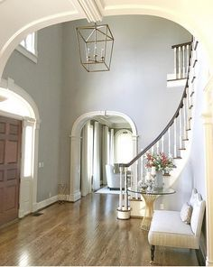 Interior paint colors ideas for homes amazing interior entryway colors pictures simple design home entryway paint color ideas interior paint color ideas Best Interior Paint, New Interior Design, Interior Paint Colors, Gray Interior, Paint Colours, Wall Colors, Entryway Paint Colors, Foyer Lighting, Lighting Ideas