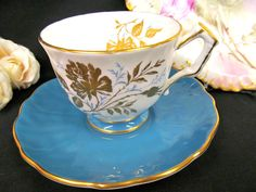Aynsley Tea Cup and Saucer Crocus Shape Blue Gold Gilt Floral Teacup | eBay