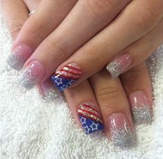 4th of July Acrylic Nails. Silver, blue and white with star glitter details  KCNails
