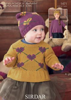 Baby and Girls Round Neck Sweaters in Snuggly Baby Bamboo DK (1471) | Deramores