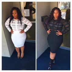 Sassy classy bodycon shop vintage Barbie mkt.com/vintage-Barbie  #bodycon #dress #black #ivory #plussize #glam #curvy #sexy