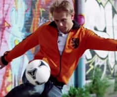 Armin van Buuren playing euro futbol in his music video, 'we are here to make some noise'....pretty rad!