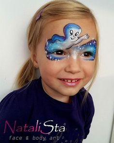 Casper the friendly ghost Face Painting Halloween Kids, Face Painting For Boys, Face Painting Designs, Halloween Crafts, Halloween Makeup, Halloween Face, Ghost Face Paint, Casper The Friendly Ghost, Ghost Faces