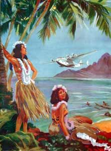 Hula girls, clipper in the background ~ Vintage Hawaii Painting