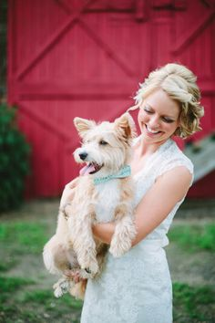 loving this wedding pup with the mint bow tie http://www.weddingchicks.com/2013/09/18/rustic-country-wedding-3/