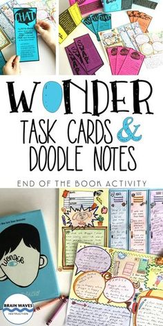 What happens when a great book like Wonder, creative task cards and engaging doodle notes combine? A Doodle and Do resource, of course!  This Doodle and Do resource is designed for students to complete after reading the novel, Wonder, by R.J. Palacio. It combines fun task cards with doodle notes. The task cards require students to write, chat, swap, and draw in response to questions about the book. Then, students add their responses to fun doodle notes for the novel.