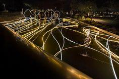 Light Art Illuminates a Canal in the Desert