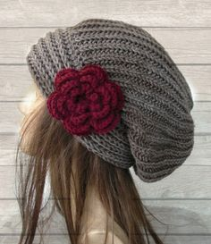 Hand Knit Hat- Womens hat - chunky knit Slouchy Beanie Slouch Hat Flower Fall Winter Accessories beret taupe Autumn from Ebruk on Etsy. Knitting Patterns Free, Hand Knitting, Hat Patterns, Knitted Hats, Crochet Hats, Bonnet Crochet, Flower Hats, Slouchy Hat, Winter Accessories